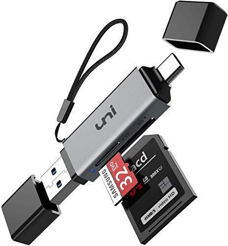 uni SD カードリーダー USB Type C SD [ USB3.0 / Type C SD / 2-in-1 ] カード リーダー 同時読み書き [ microSDXC/microSDHC/microSD/SD/SDHC/SDXC/RS-MMC/MMC ] USB SD USB Type C メモリー カードリーダー UHS-I USB3.0 2.0 1.1 アダプター [スペースグレー・ロープ付き]
