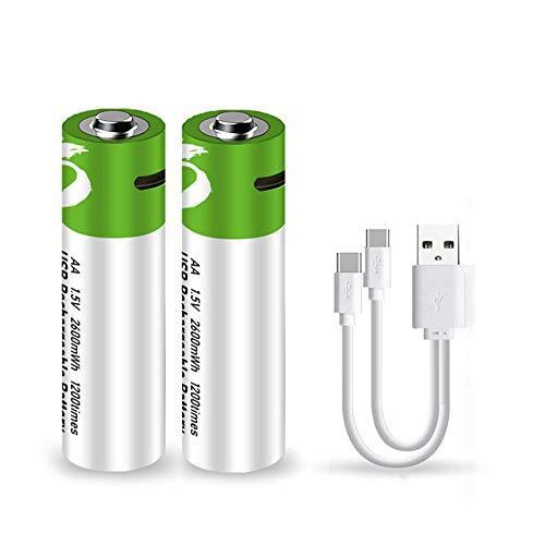 USB充電式リチウム電池 単3形充電池 2600mWh容量 指紋ロック、おもちゃ、マウスなどに最適 繰り返し可能なループアプリケーション