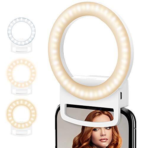 MAXKU 自撮りライト 自撮りLEDリングライト スマホライト 3色モード 54灯粒 3段階明るさ調節 2800K-5700K LEDライト USB充電 自撮り補光/美容化粧/YouTube生放送/ビデオカメラ撮影用(白い)