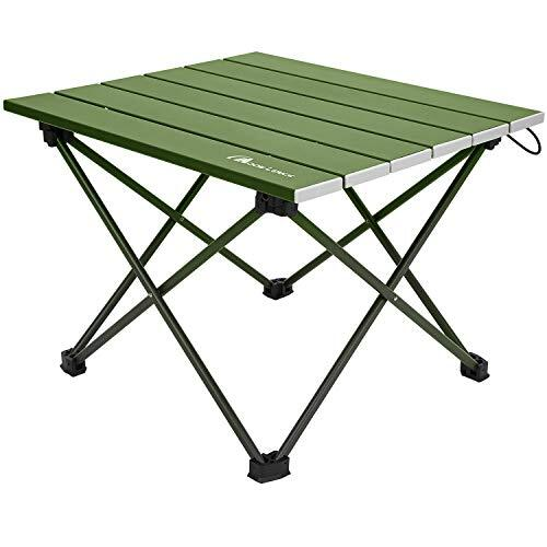 Moon Lence キャンプテーブル アルミ ロールテーブル アウトドア ハイキング BBQ 折りたたみ式 コンパクト 超軽量 収納袋つき M