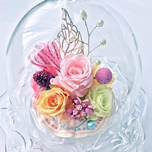 NEW ダイアナ welzo ウェルゾ オリジナル品 プリザーブドフラワー 薔薇3輪 ガラスドーム パステルMIX