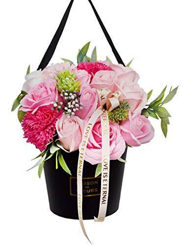 豪華 ソープフラワー スタンド用 壁掛け用 13輪バラ カーネーション (スタンドフラワー ピンク2) 母の日 ギフト プレゼント 贈り物