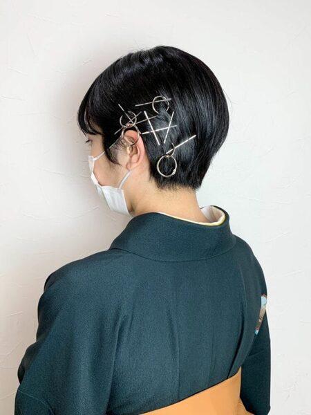 着物に合う自分でできる簡単な黒髪ショート