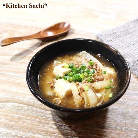 白菜と豆腐の生姜そぼろスープ