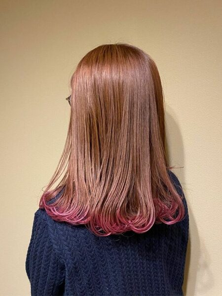グレープの裾カラー×ロングヘア