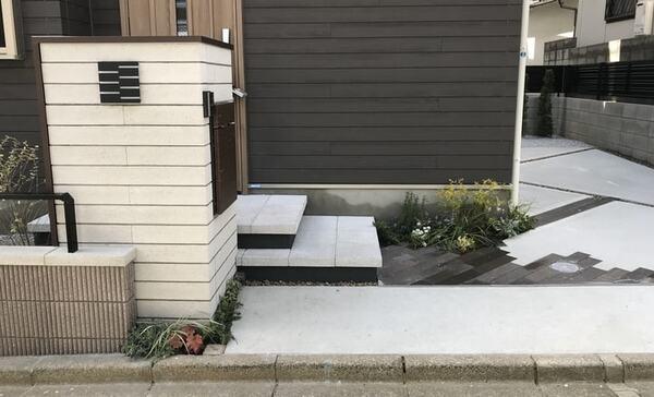 構造物とコンクリートの床が接する部分に緑を入れる