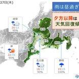 東海地方 沿岸部で大雨のおそれ 夕方以降は天気回復へ