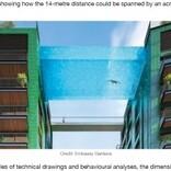 マンション10階を橋渡し 透け透けの空中プールがオープン(英)<動画あり>