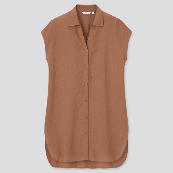 ユニクロのリネンブレンドロングシャツの写真