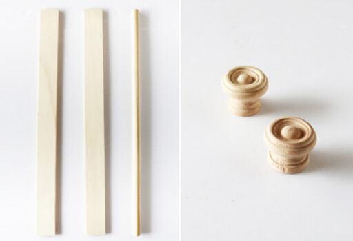 セリアの木材(角材&丸棒)とsalut!の木製つまみ