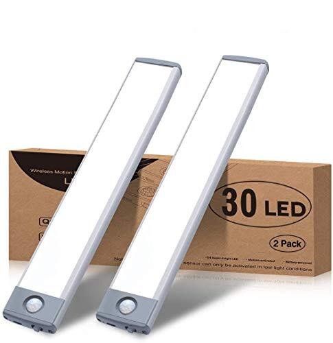 LEDセンサーライト、室内 小型 キッチンライト 極薄 30 LED USB 1500MA 充電式 夜間ライト階段ライト led バーライト 2個入