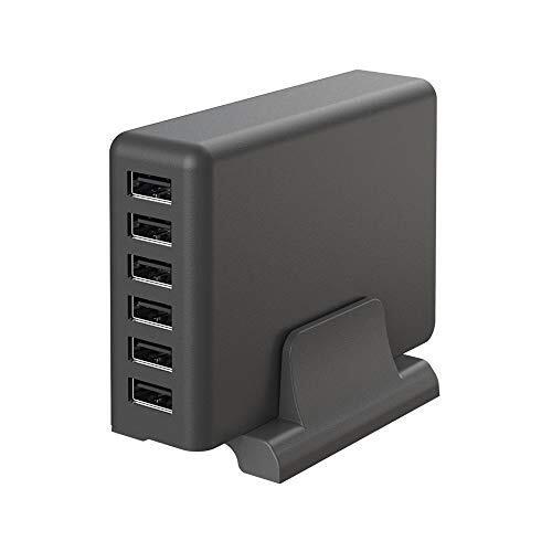 MOTTERU (モッテル) AC充電器 USB 6ポート 60W スタンド付き 急速充電 6台同時充電 PSE認証済 日本メーカー 2年保証 スモーキーブラック MOT-AC60U6-BK