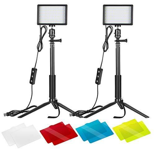 Neewer 2パック USBビデオライト LEDビデオライト 5600K 調光可能 調節可能な三脚スタンド/カラーフィル ター付き 卓上/ローアングル撮影 ズーム/ビデオ会議照明/ゲーム実況/YouTubeビデオ写真に適用