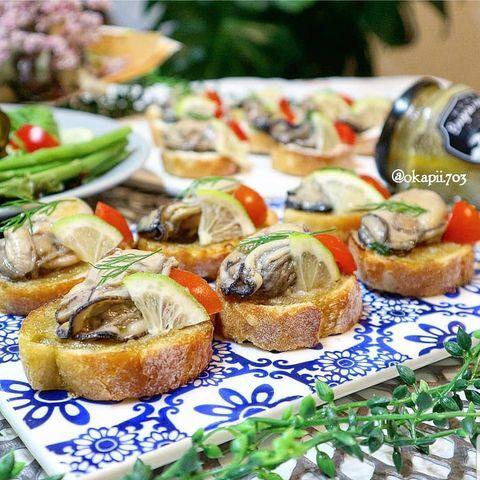 牡蠣のブルスケッタ