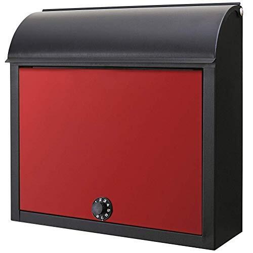 カバポスト 郵便ポスト ダイヤル 鍵不要 角2 大型 サイズ対応 郵便受けポスト 壁掛け 赤黒