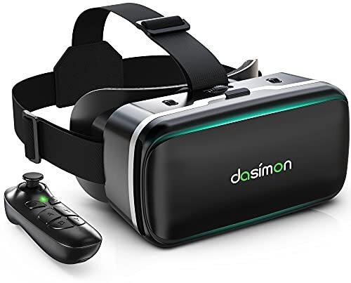 [Dasimon VRゴーグル] VRヘッドセット VRヘッドマウントディスプレイ スマホ用VRゴーグル Bluetoothリモコン付 高品質の5層構造非球面光学レンズ 視野角広い 瞳孔間距離&ピント調節可 遠視/近視適用 メガネを着用人も対応 臨場感あふれる ヘッドバンド調節可 フィット感抜群 通気性 3D VRゴーグル VRグラス 画面サイズ4.7~6.5インチのスマートフォンiosとAndroidに対応 日本語取扱書付 子供の日プレゼント