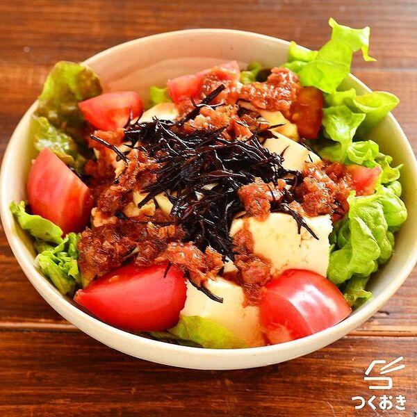 和風で人気の豆腐とひじきの梅おかかサラダ