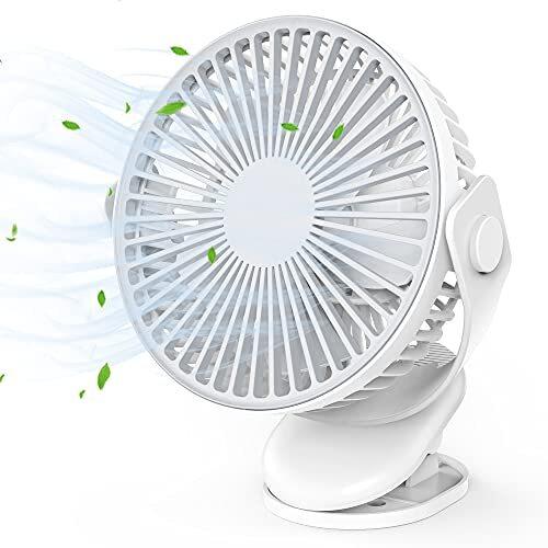 USB扇風機 充電式 クリップ 卓上扇風機 静音 4000mAh電池 18cm/5枚羽根 強力 風量4段階 360°回転 コードレス 空気循環 省エネ デスク・リビング・キッチン・オフィス・キャンプなど 暑さ対策 12ヶ月保証