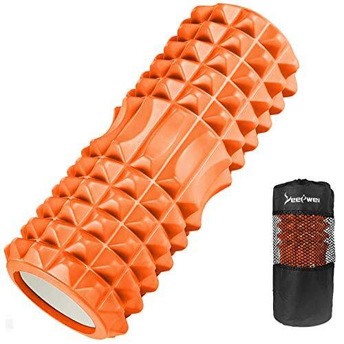LEEPWEI フォームローラー 筋膜リリース グリッドフォームローラー ヨガポール トレーニング スポーツ フィットネス ストレッチ器具 収納バッグ (オレンジ)