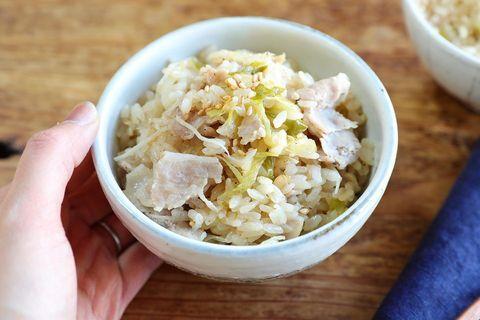 長ネギと豚バラの中華炊き込みご飯
