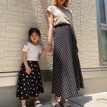 映える親子リンクコーデ。ほどよくかわいいドット通販スカートが40代女性にも刺さる理由【40代の毎日コーデ】