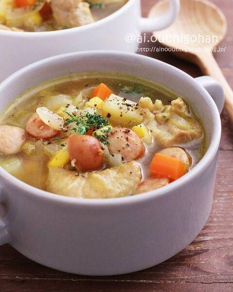 具だくさんカレー風味!簡単おかずスープ