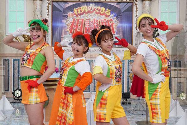 フワちゃんと滝沢カレンが、矢口真里&辻希美と組んだ「カレフワミニモニ。」も話題を呼んだ。「行列のできる法律相談所」公式ツイッター(@gyoretsu_ntv)より。