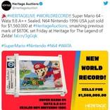 『スーパーマリオ64』が156万ドル(約1億7200万円)で落札される