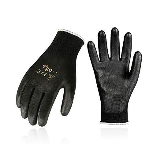Vgo 15双入 滑り止め手袋 ポリウレタン ガーデニング ワークスグローブ コンクリート工事 作業用 園芸手袋(15双入,Size M, Black,PU2103P15-B)