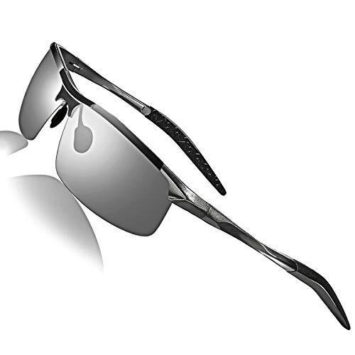 スポーツサングラス 偏光サングラス 超軽量メタル UV400 紫外線カット 落下防止 超抗衝撃 男女兼用 ドライブ / ランニング / ゴルフ / 野球 / 登山 / 自転車 / 釣り / 運転 レディース メンズ サングラス (変色グレー)
