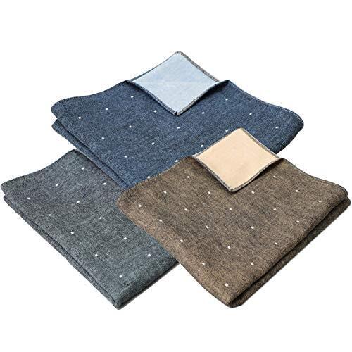 B-PLAID 3重ガーゼハンカチ 侘びさび 日本製 3枚セット 約35×35cm メンズ レディース ハンカチ 綿100% 和柄 吸水速乾 深緑+濃青+からし