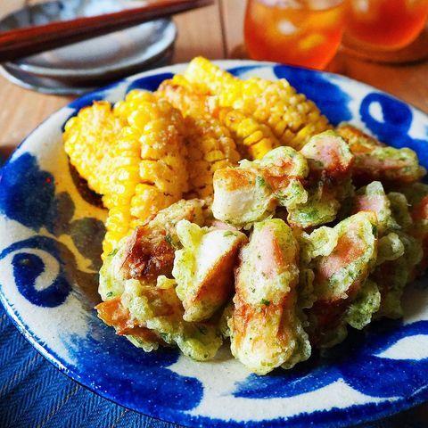 ちくわと魚肉ソーセージの磯辺揚げ