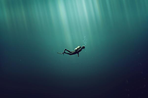 海に潜る人