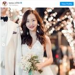 板野友美、結婚式の写真を公開 ウエディングドレス姿に「可愛いすぎる」「幸せのおすそ分け」祝福コメント殺到