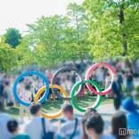 【東京オリンピック】開幕式直前 国立競技場付近に行列 五輪マーク撮影で人だかり<東京オリンピック・パラリンピック>