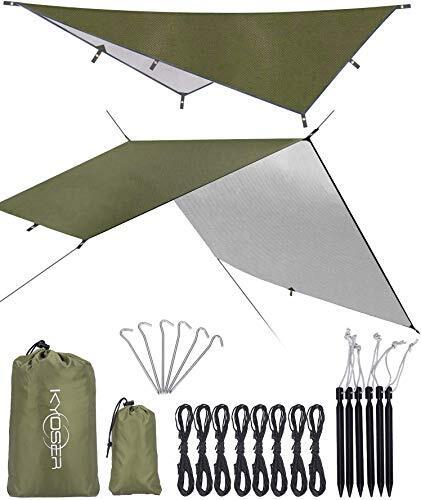 【KYOSER】タープ キャンプ 防水タープ UV 軽量 日焼け紫外線カット 天幕シェード 超軽量携帯便利 タープセット 2-6人用 3サイズ (アーミーグリーン 300cm×400cm)