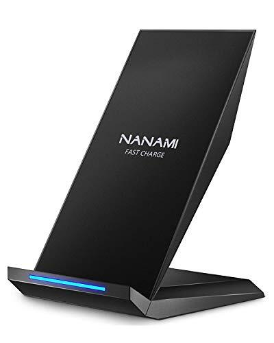 NANAMI ワイヤレス充電器 (2021年改善版) Qi認証 iPhone 12/12 Pro/Pro Max/SE (第2世代) /11 / 11 Pro / Xs / XR / Xs Max / X / 8 / 8 Plus、Galaxy S21(Ultra 5G) /S20 /S10 /S10+ /S9 /S9+ /Note10 /Note10+ /Note9、他のqi機種対応 USB Type-C端子 Quick Charge 2.0/3.0 最大15W出力 急速 置くだけ充電 スタンド ワイヤレスチャージャー 日本語取扱説明書付属 夏のギフト 黒