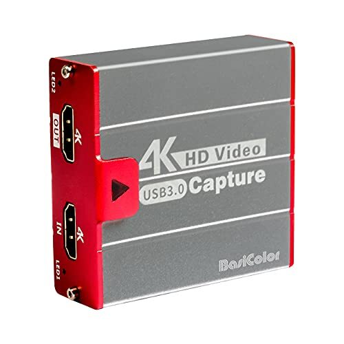 Basicolor3202 キャプチャーボード switch対応、4K30FPS USB3.0 HDMIゲームキャプチャー パススルー、PS5 / PS4 / Xbox/任天堂Switch/カメラの録画 実況 配信、Windows/Mac/OBS/XSplit/Twitch/YouTube対応、軽量小型、電源不要