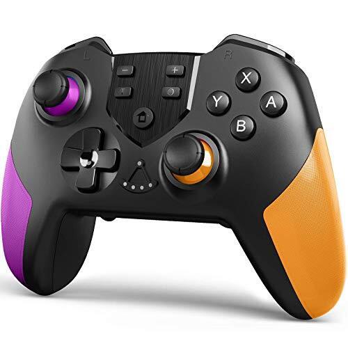 TERIOS スイッチ コントローラー Switch コントローラー 背面ボタン付き マクロ機能 小型6軸ジャイロセンサー搭載 無線ワイヤレス スイッチ プロコントローラー 任天堂 Nintendo Switch 対応(紫-オレンジ)