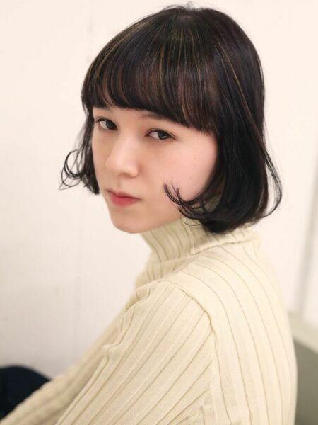 人気の韓国風黒髪ボブ11