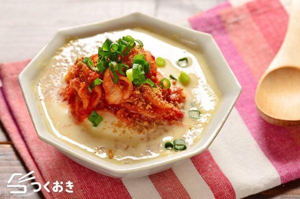 レンジ一発!豆腐とキムチの豆乳スープレシピ