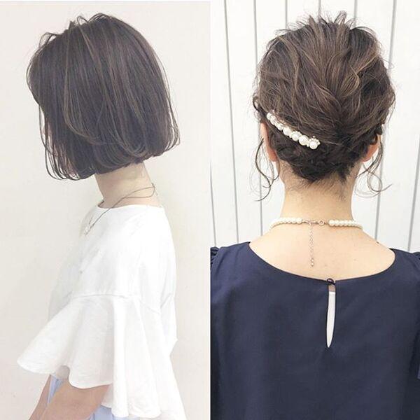パールのコームが光るシンプルまとめ髪