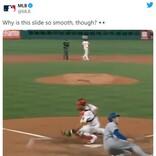 「最高にASMRなスライディング」「ダンスしてるみたい」 ドジャースの選手がホームに滑り込んだ時の映像に注目集まる