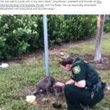 ポールに繋がれた状態の痩せこけた犬、助けに来た女性に前足を差し出す(米)<動画あり>