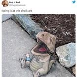 チョーク遊びというレベルではない落書きが話題に 「才能というやつね」「歩道で居眠りする恐竜の赤ちゃん」