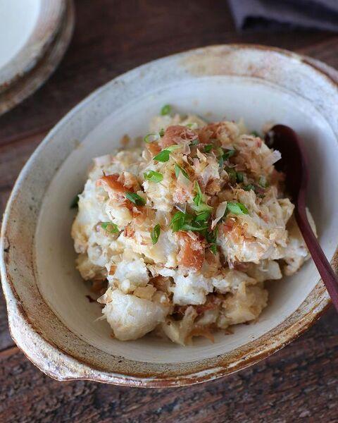里芋、梅干し、かつお節、青ねぎ、ポテトサラダ。