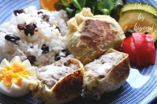焼きコロッケ、油揚げ、里芋、合いびき肉。