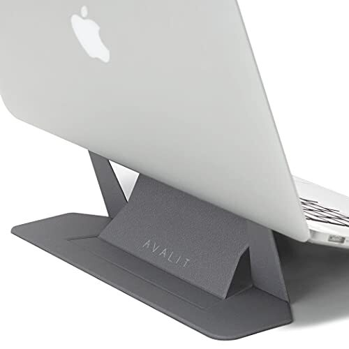 AVALIT【国内正規品】最新型 ノートパソコンスタンド 折りたたみ式 【安定性・放熱性】 軽量 薄型 (13−16インチ) 冷却 貼り付け 高さ調整 pcスタンド laptop コンパクト 持ち運び (スペースグレイ, 15°-25°)