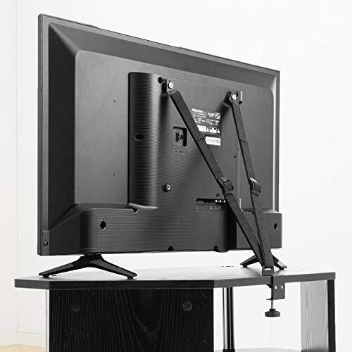 サンワダイレクト テレビ 転倒防止ベルト VESA取付 クランプ式 【粘着/穴開け不要】壁固定対応 100-PL023
