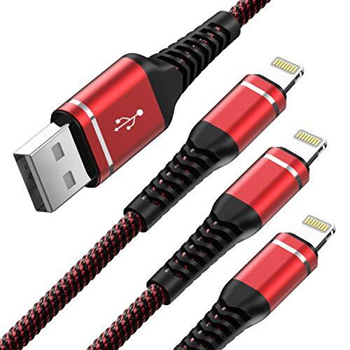iPhone充電ケーブル 1M 3本セット アイフォン充電 USB ライトニング ナイロン 高速充電 耐久 lightning コードApple iPhone se/ 11 Pro/XS/Max/XR/X/8 Plus/7 Plus/ 6s Plus/5 s/iPad Air/iPad mini/iPod対応(レッド)